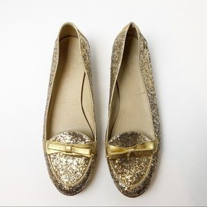 Kate Spade Gold Glitter Cora Loafers